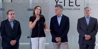 Macri visitó Y-TEC con Vidal y felicitó a Barañao